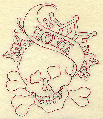 Embroidery Design: Love skull redwork 4.26w X 4.99h