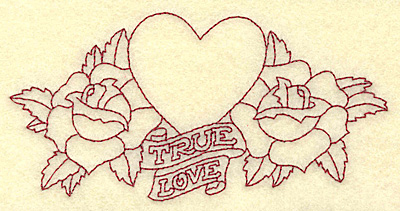 Embroidery Design: True love heart and roses redwork 4.91w X 2.45h