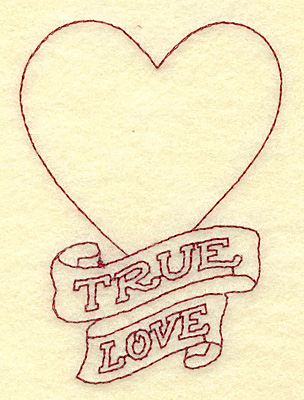 Embroidery Design: True love heart redwork 2.48w X 3.43h
