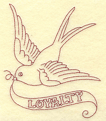 Embroidery Design: Loyalty bird redwork 3.98w X 4.87h