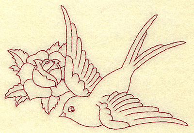 Embroidery Design: Bird and rose redwork 4.92w X 3.33h