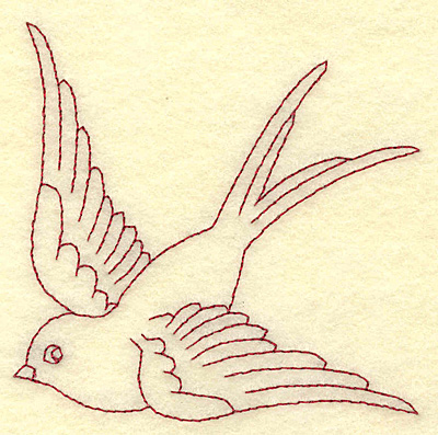 Embroidery Design: Bird redwork 3.64w X 3.49h