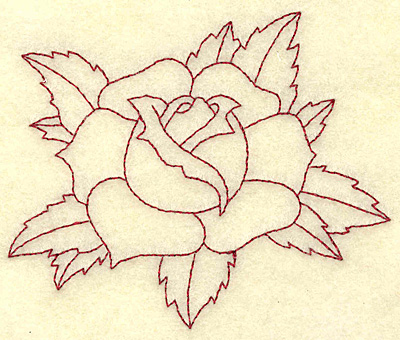 Embroidery Design: Rose redwork 3.83w X 3.22h