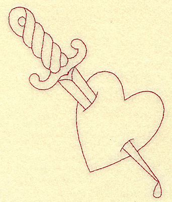 Embroidery Design: Dagger in heart redwork 4.12w X 4.84h