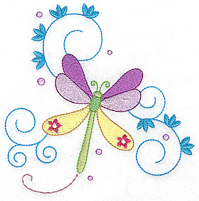 Embroidery Design: Dragonfly with swirls large 4.94w X 4.94h