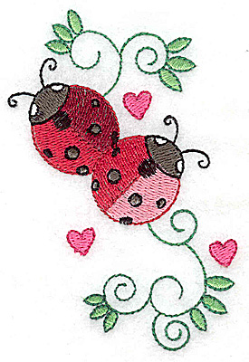 Embroidery Design: Ladybugs swirls and hearts small 2.67w X 3.86h