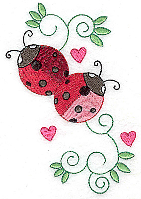 Embroidery Design: Ladybugs swirls and hearts large  3.41w X 4.94h
