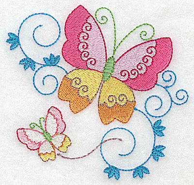 Embroidery Design: Butterflies and swirls small 3.87w X 3.73h