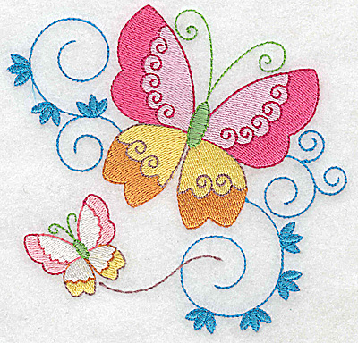 Embroidery Design: Butterflies and swirls large 4.95w X 4.77h