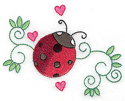 Embroidery Design: Ladybug swirls and hearts small 3.85w X 3.05h