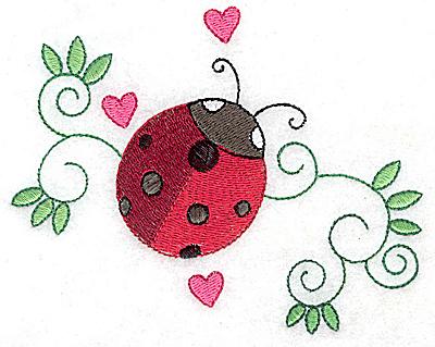 Embroidery Design: Ladybug swirls and hearts large 4.93w X 3.91h