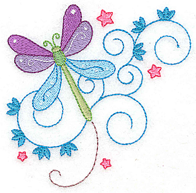 Embroidery Design: Dragonfly swirls and stars small 3.85w X 3.86h
