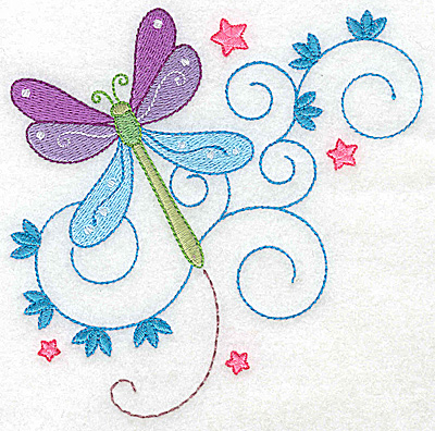 Embroidery Design: Dragonfly swirls and stars large 4.93w X 4.95h