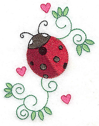 Embroidery Design: Ladybug hearts and swirls small 3.06w X 3.87h