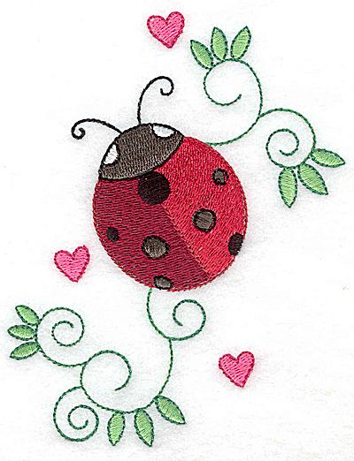 Embroidery Design: Ladybug hearts and swirls large 3.91w X 4.95h