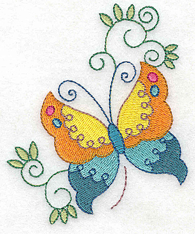 Embroidery Design: Butterfly and swirls small 3.15w X 3.85h