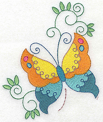 Embroidery Design: Butterfly and swirls large 4.03w X 4.93h