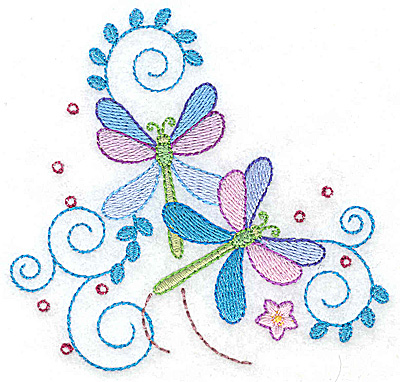 Embroidery Design: Dragonflies swirls and flower small 3.87w X 3.71h