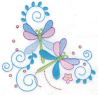 Embroidery Design: Dragonflies swirls and flower large 4.95w X 4.75h