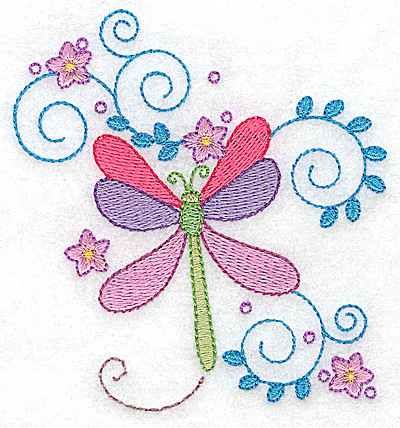 Embroidery Design: Dragonfly swirls and flowers small 3.59w X 3.86h