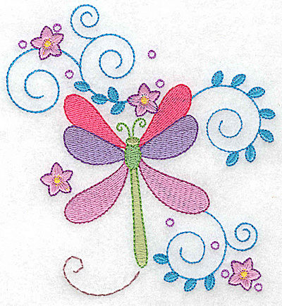 Embroidery Design: Dragonfly swirls and flowers large 4.60w X 4.94h