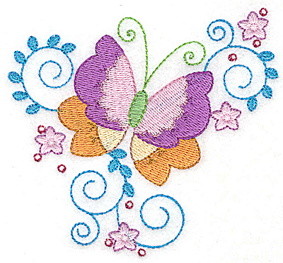 Embroidery Design: Butterfly flowers and swirls small 3.86w X 3.56h