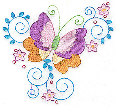 Embroidery Design: Butterfly flowers and swirls large 4.94w X 4.56h