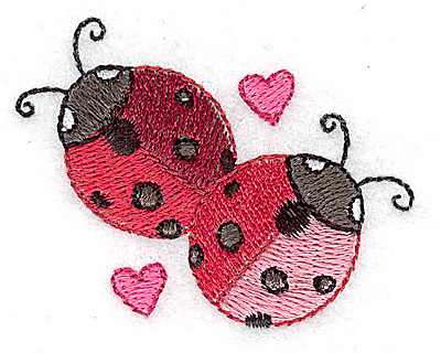 Embroidery Design: Ladybugs and hearts 2.33w X 1.86h