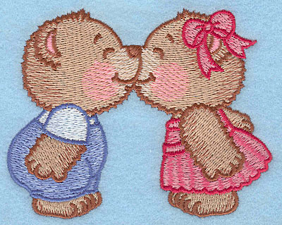 "Embroidery Design: Bears kissing small  3.06""h x 3.90""w"