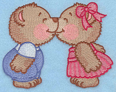 "Embroidery Design: Bears kissing large  3.91""h x 5.00""w"
