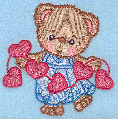 "Embroidery Design: Girl bear with string of hearts small  3.37""h x 3.29""w"