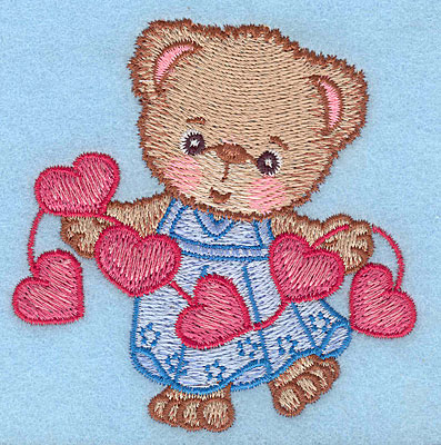 """Embroidery Design: Girl bear with string of hearts large  4.30""""h x 4.21""""w"""