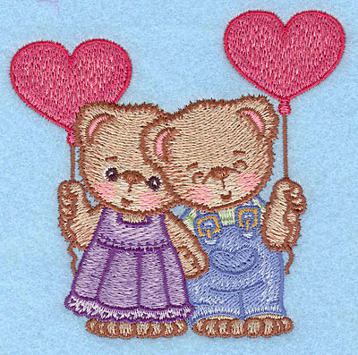 "Embroidery Design: Girl and boy bears with balloons large  4.89""h x 5.00""w"