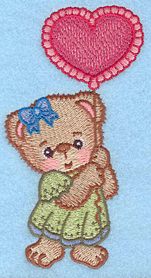 "Embroidery Design: Girl bear with balloon large  5.00""h x 2.71""w"