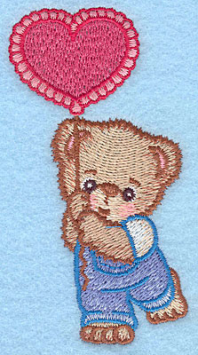 "Embroidery Design: Boy bear with balloon small  3.90""h x 1.98""w"