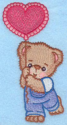 "Embroidery Design: Boy bear with balloon large  5.00""h x 2.53""w"