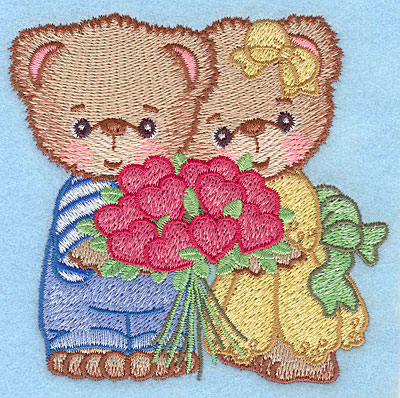 "Embroidery Design: Bears with heart bouquet small  3.83""h x 3.90""w"