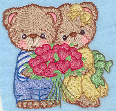 "Embroidery Design: Bears with heart bouquet large  4.90""h x 5.00""h"