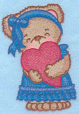 "Embroidery Design: Girl bear with heart large  4.39""h x 2.92""w"
