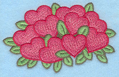 "Embroidery Design: Heart bouquet large  2.54""h x 3.94""w"