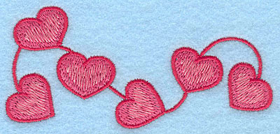 """Embroidery Design: String of hearts large  1.92""""h x 4.20""""w"""