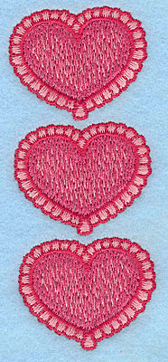 "Embroidery Design: Heart trio vertical  3.82""h x 1.51""w"