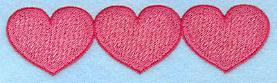 "Embroidery Design: Heart trio horizontal  1.32""h x 4.96""w"