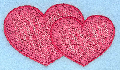 """Embroidery Design: Hearts interlocked large  2.13""""h x 3.65""""w"""