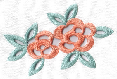 Embroidery Design: Cutwork double flowers small5.46w X 3.70h