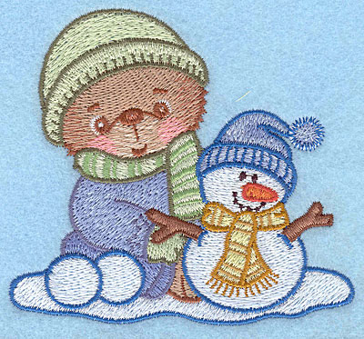 """Embroidery Design: Bear A with snowman small3.56""""Hx3.90""""W"""