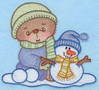 "Embroidery Design: Bear A with snowman large4.55""Hx5.00""W"