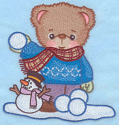 "Embroidery Design: Bear with snowball large5.00""Hx4.77""W"
