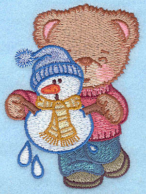 """Embroidery Design: Bear with melting snowman small3.68""""Hx2.66""""W"""