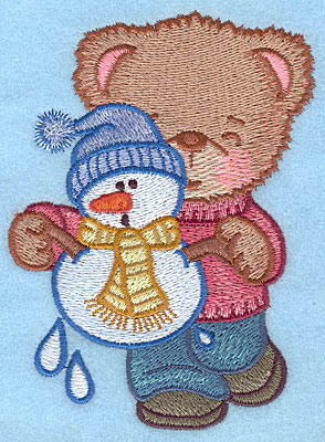 "Embroidery Design: Bear with melting snowman large4.71""Hx3.40"""